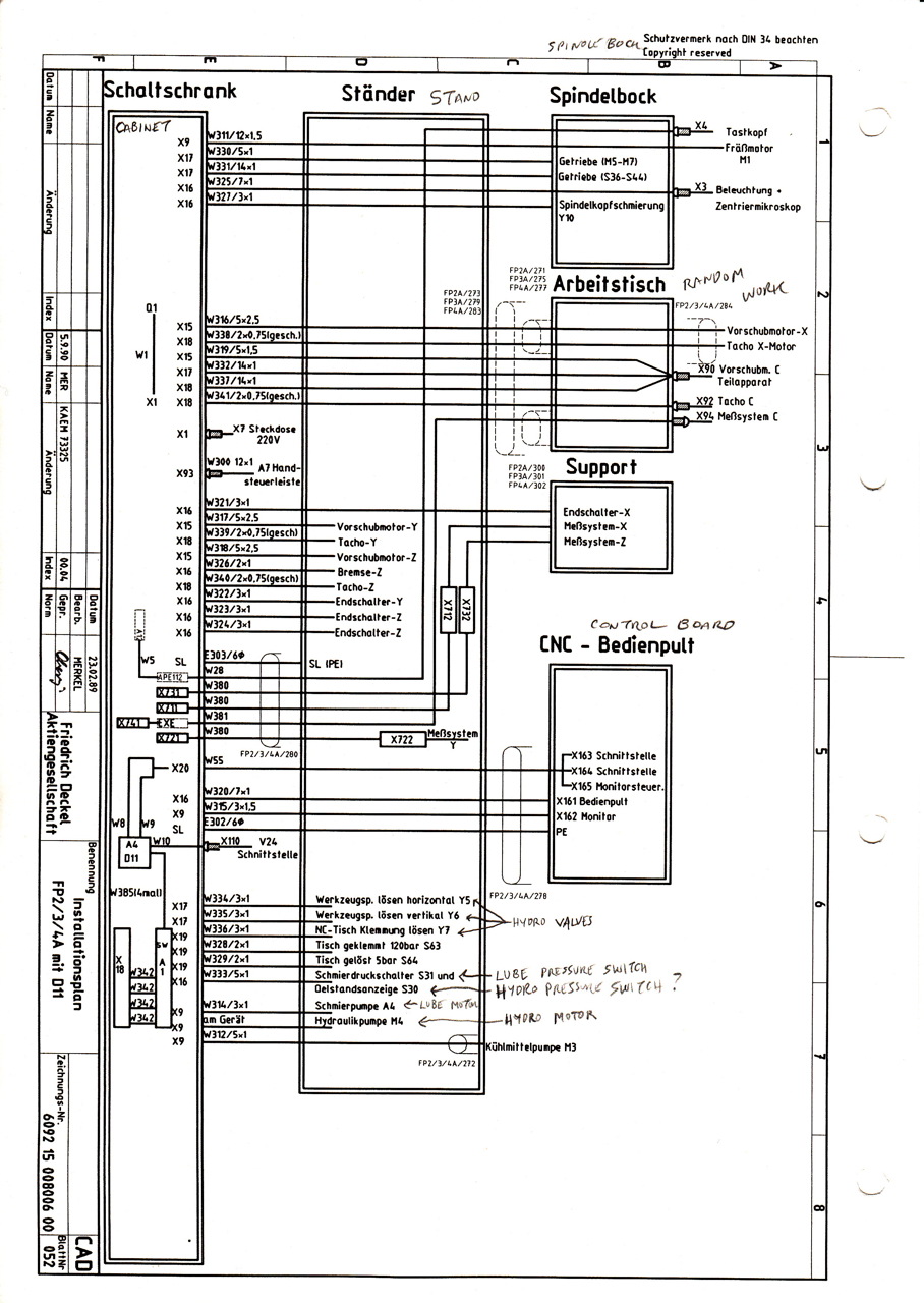 deckel electrical schematic question