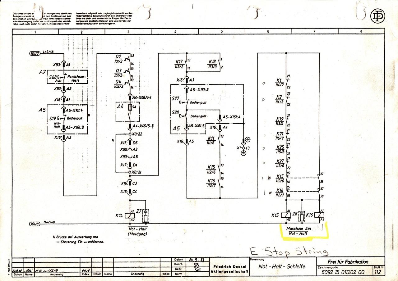 Deckel CNC E Stop circuit question (w/ schematic scan) [Archive ...