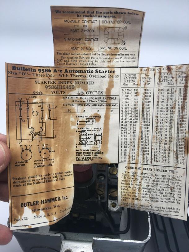 Cutler Hammer Heater Element Chart