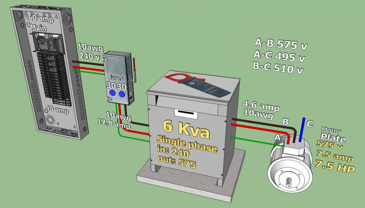 240 v to 575 v 3 phase converter project for How to convert 3 phase motor to single phase 220v