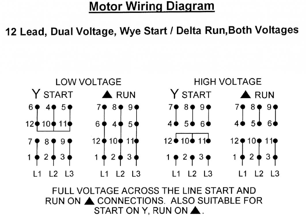 wye/delta connection diagram, looks correct for 240v delta run 12-lead -dual-voltage jpg
