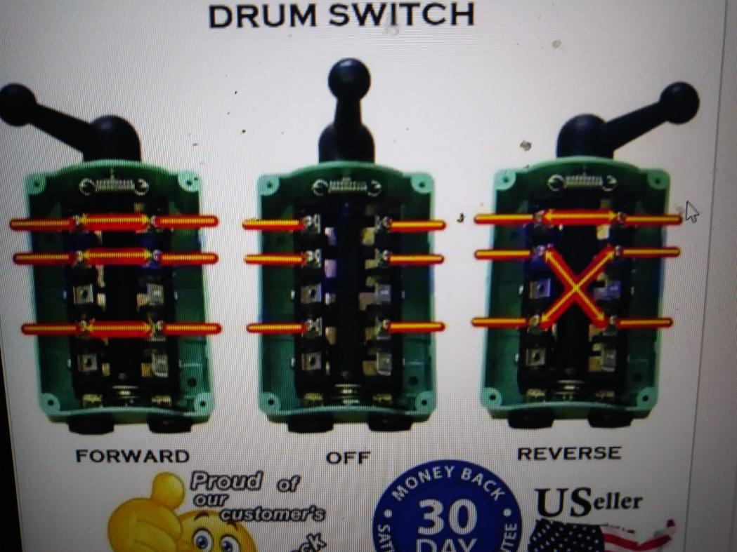 Wiring drum switch to    reverse    single    phase       motor