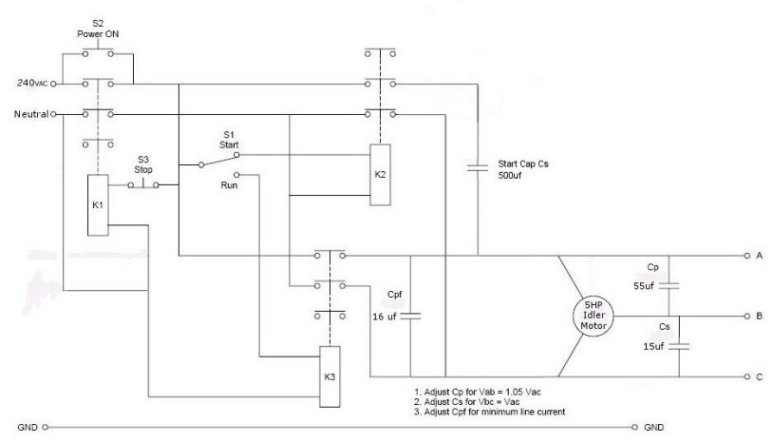 29868d1294073808 modifying three phase motors single phase use steinmetz connection modifying three phase motors for single phase use? 440 volt 3 phase wiring diagram at aneh.co