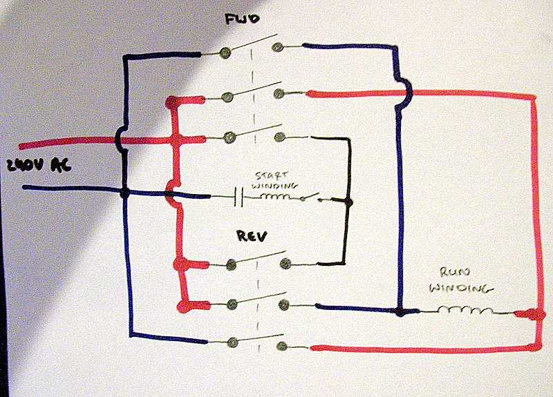 use a 3 pole reversing contactor for 1-phase 220