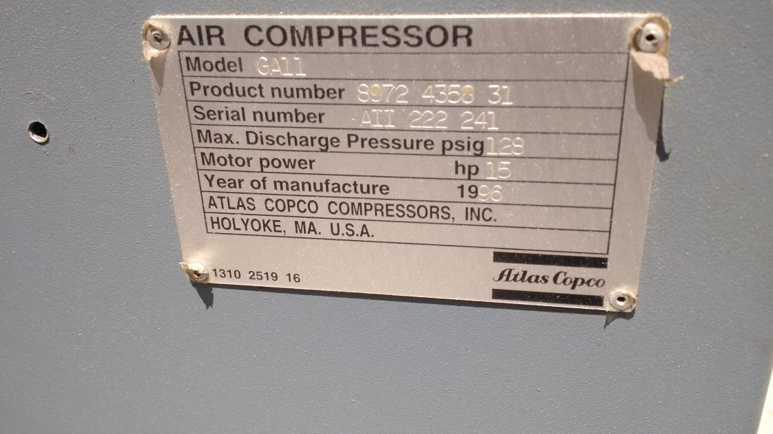178036d1471190826 atlas copco ga11 15 hp 460v rotary screw air compressor 1500 a img_20160804_134910446 atlas copco ga11 15 hp 460v rotary screw air compressor $1500 atlas copco ga11 wiring diagram at panicattacktreatment.co