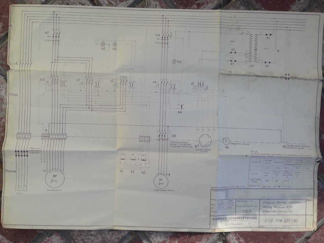 Deckel FP1 2 speed motor & fuses