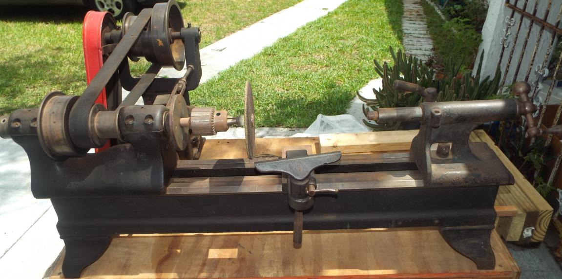 Antique Cast Iron Flat Top Metal Or Wood Lathe For Sale