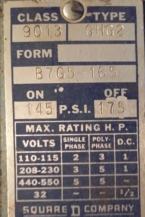 1965 Wayne Air Compressor Pressure Switch