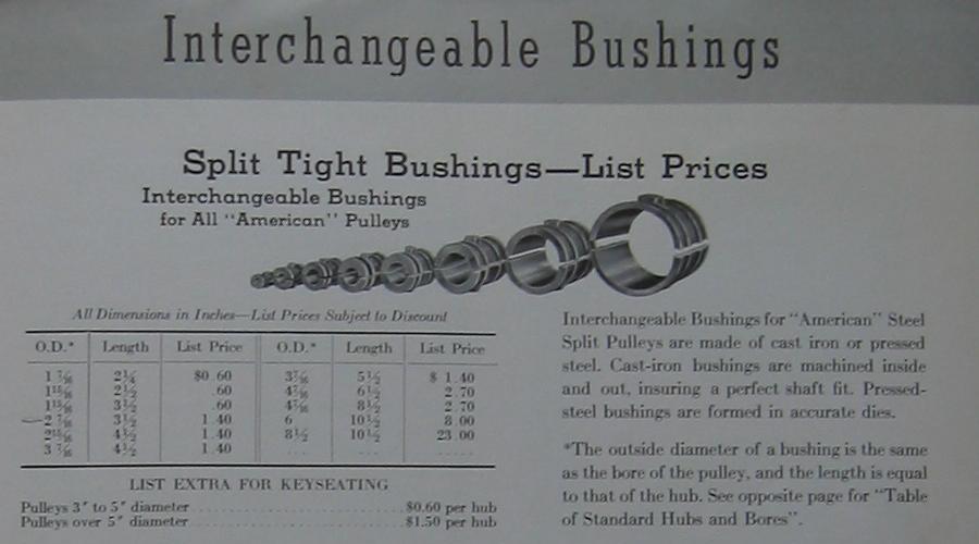 Pulleys History : Split steel pulleys with loose bearings