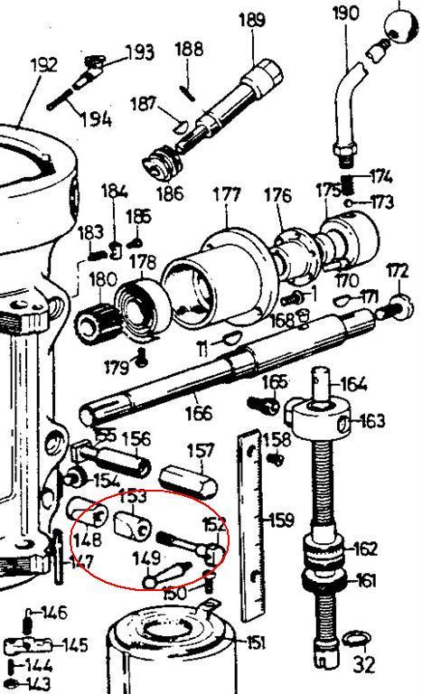 bridgeport 2j quill lock adjustment and handle thread specs