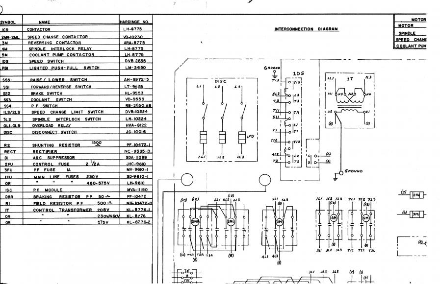 Hardinge Lathe Control Transformer Secondary Connection