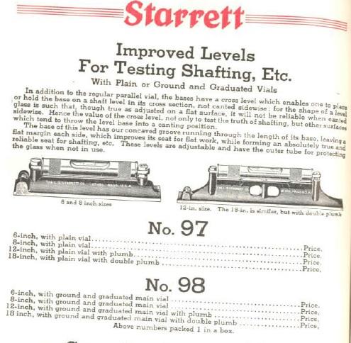 starrett no 98 machine level