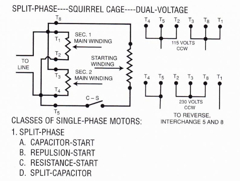 Split Phase Dual Voltage Motors Wiring Diagram - Residential ...