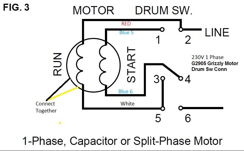 wiring diagram for a split phase motor