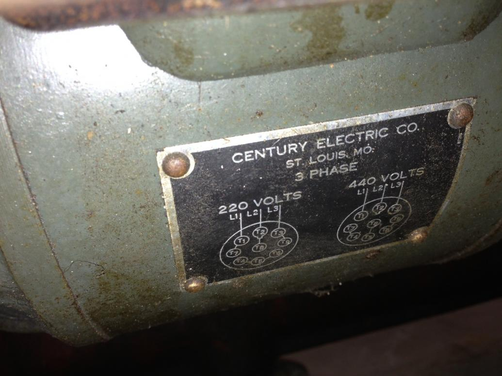 Century Motor On South Bend Lathe 220 440 Wiring Diagram It Appears That There Sb5a