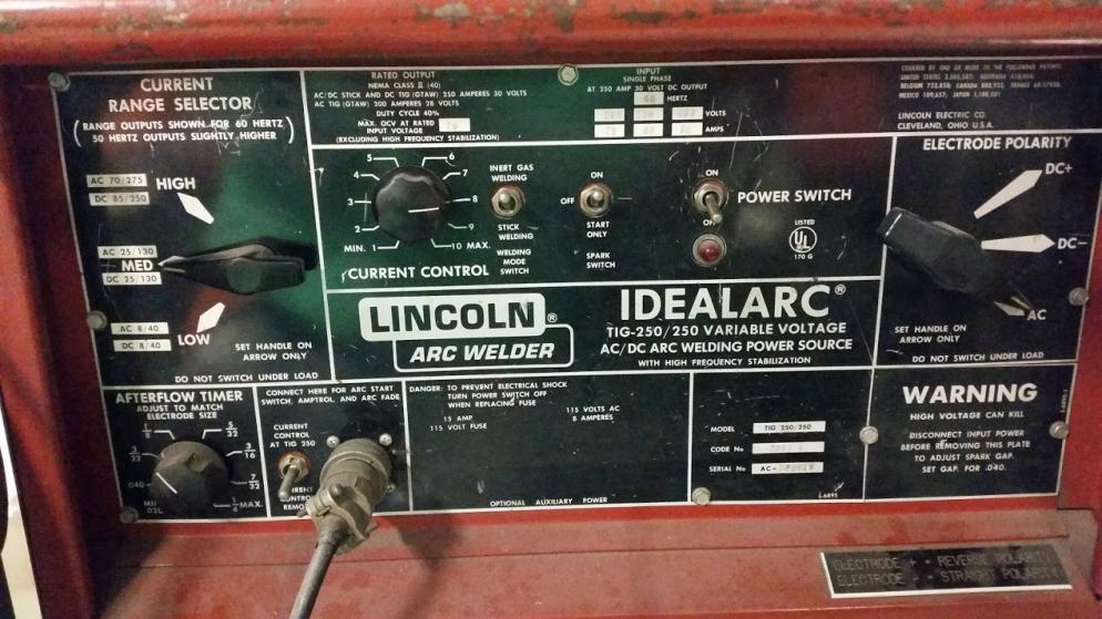 Lincoln Ideal Arc Tig 250 Ac Issues