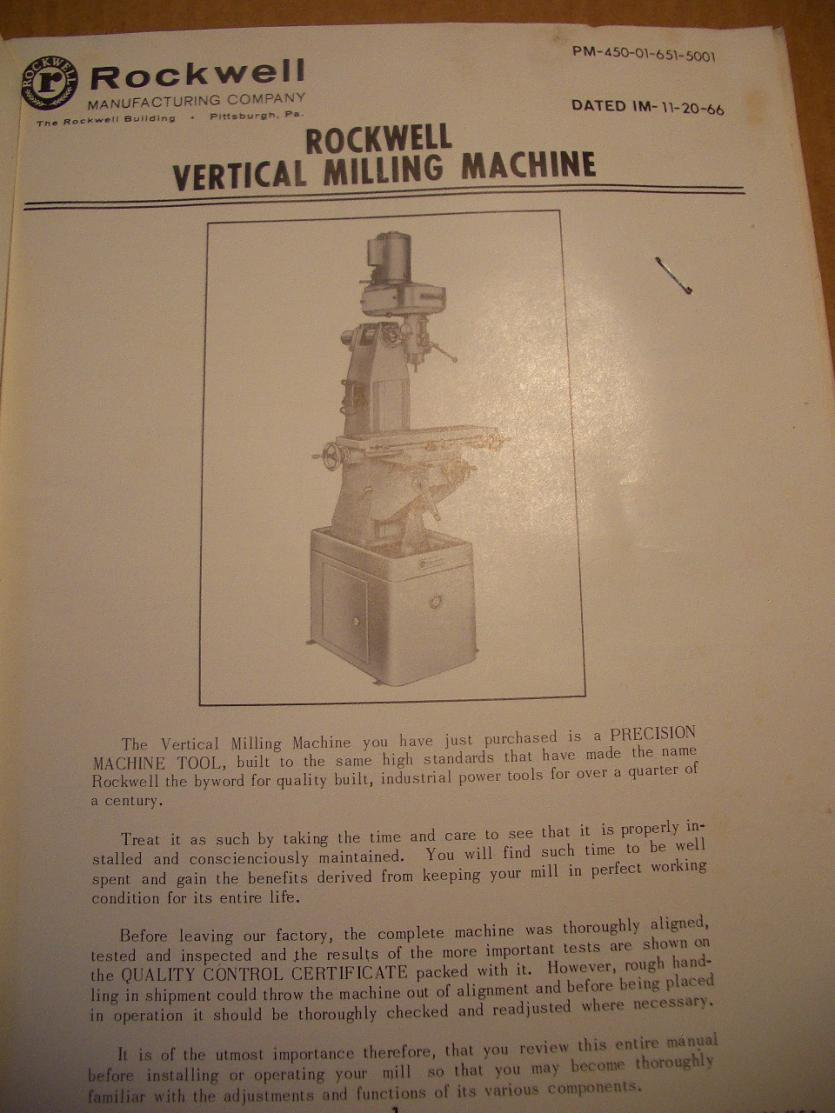Fs Rockwell Vertical Mill Manual