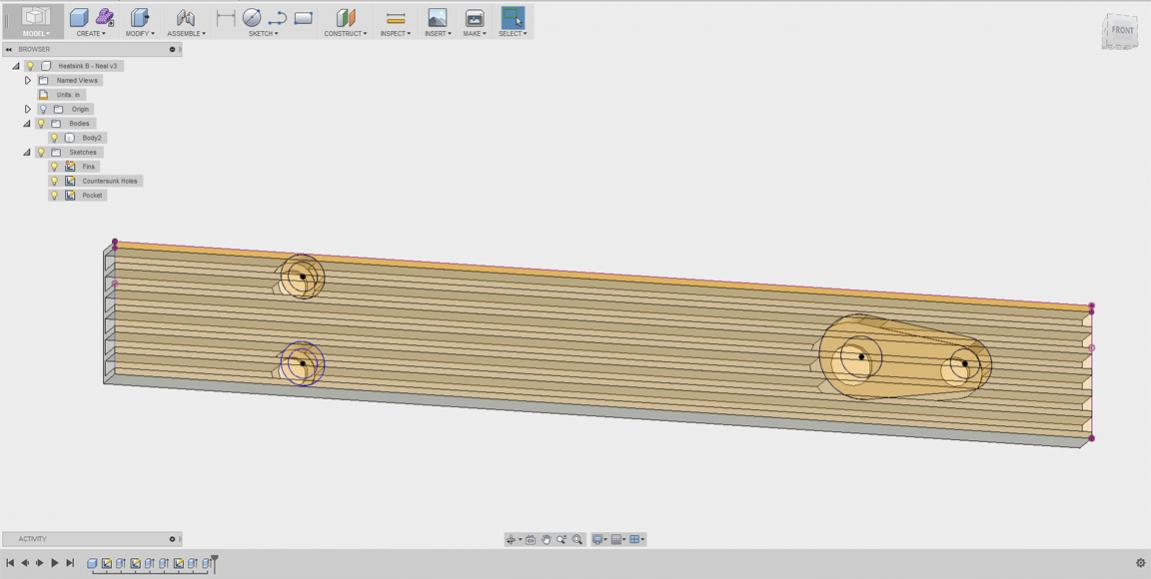 Fusion 360, counterbore feature in a heatsink, can't get it to work