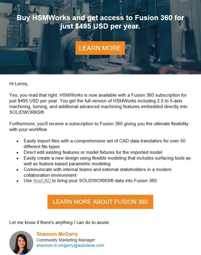 HSMWorks now included with Commercial Fusion 360 License