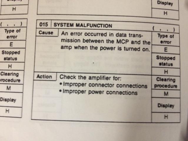 Alarm 15 system malfunction