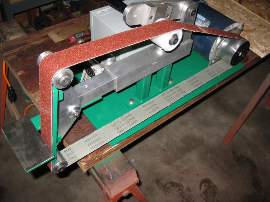 Belt sander for metal shop