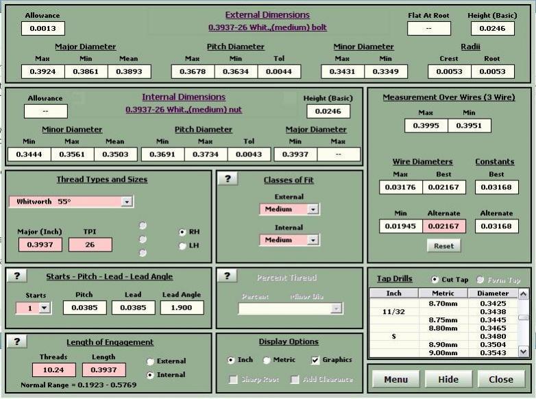 thread pitch calculation formula pdf