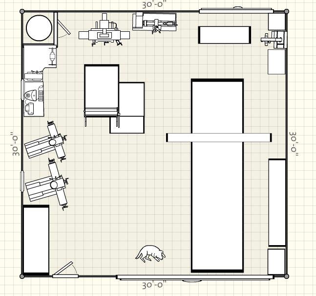 Machine shop layout questions for Automotive workshop floor plan layout