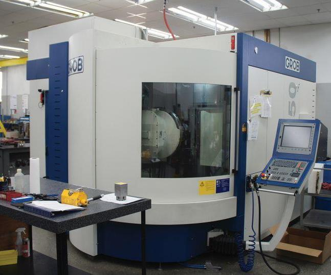Omega has two Grob G350 five-axis machining centers. The second was outfitted for automation, but this one, the shop's first, isn't tended by the robot. Still, System 3R fixturing keeps the machine integrated with Omega's standardized manufacturing system.